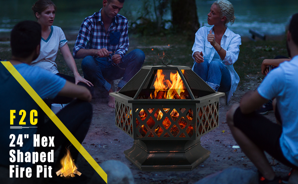 "Zeny 24"" Outdoor Patio Fire Pit · QuikCompare on Zeny 24 Inch Outdoor Hex Shaped Patio Fire Pit Home Garden Backyard Firepit Bowl Fireplace id=38186"