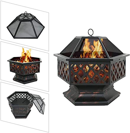 "Zeny 24"" Outdoor Patio Fire Pit · QuikCompare on Zeny 24 Inch Outdoor Hex Shaped Patio Fire Pit Home Garden Backyard Firepit Bowl Fireplace id=60132"