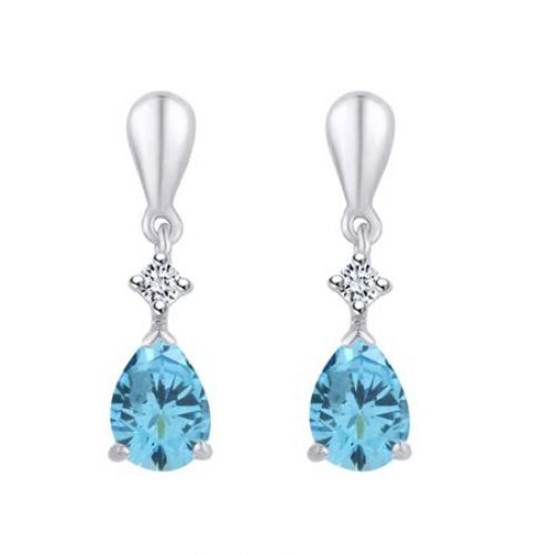 1.75 Cttw Pear Shape Blue Topaz & Round Natural Diamond Dangle Earrings In 10K Solid White Gold