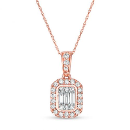 3/8 CT. T.w. Composite Diamond Octagonal Frame Pendant in 10K Rose Gold