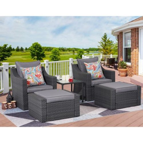 5 Piece Outdoor Patio Furniture Set with Ottomans and Side Table, All Weather PE Rattan Wicker Cushioned Sectional Sofa Chairs,...