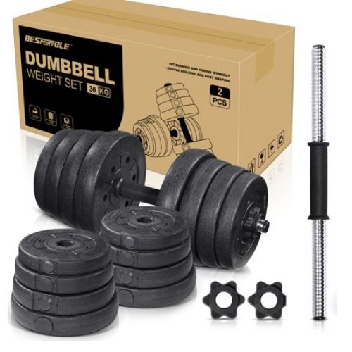 66LB Adjustable Dumbbell Weight Sets Solid Fitness Dumbbell Set for Home Gym Exercise Training-16pcs weight plates 2 extension bars and...