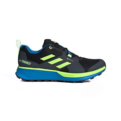Adidas Men's Terrex Two Gore-Tex Trail Running Shoes Core Black/Signal Green/Bright Blue 7
