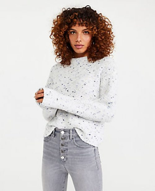 Ann Taylor Petite Marled Mock Neck Sweater