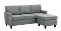 Carter Reversible Fabric Sectional, Sky Grey