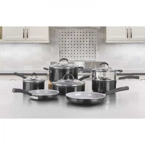 Cuisinart 11 Piece Aluminum Non Stick Cookware Set Cuisinart Color: Black