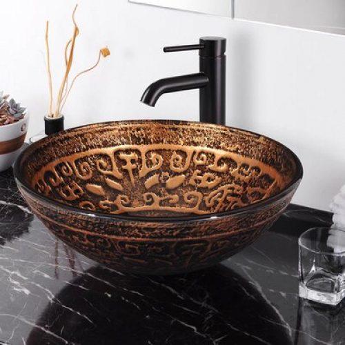 80gsk004 425rnd Cu Dark Brown Glass Circular Vessel Bathroom Sink Quikcompare