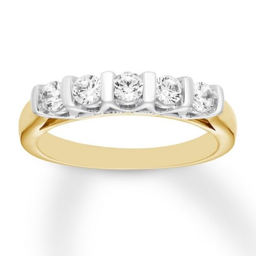 Diamond Anniversary Band 1/2 ct tw Round-cut 14K Two-Tone Gold