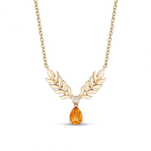 Enchanted Disney Anna Pear-Shaped Citrine and Diamond Accent Double Wheat Necklace in 10K Gold