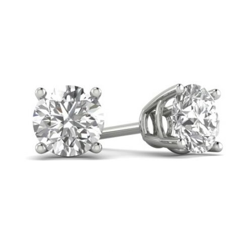 F/I1 1/6-2.00 Carat TW Diamond Stud Earring in 14k White Gold (1/2ct+ are certified)