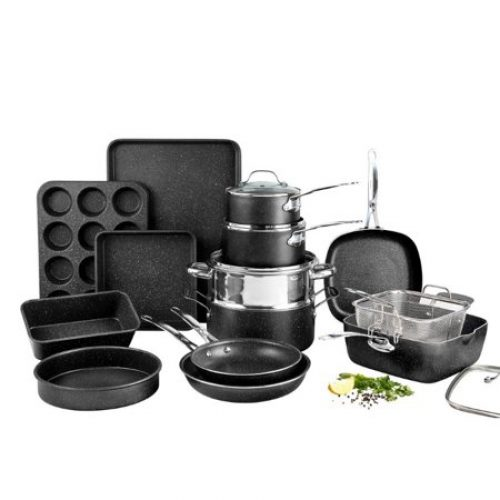 Granitestone Pots and Pans Set, 20 Piece Complete Cookware + Bakeware Set with Ultra Nonstick 100% PFOA Free–Includes Frying Pans,...