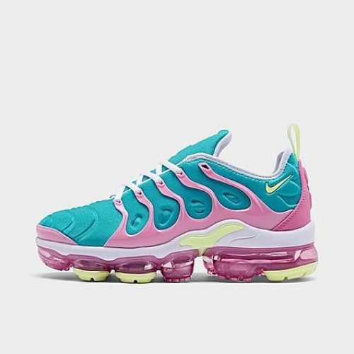 Nike Women's Air VaporMax Plus SE Running Shoes in Pink/Blue/White Size 5.5 Leather/Suede