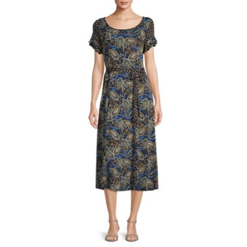 Perceptions Short Sleeve Paisley Midi Fit & Flare Dress, 8 , Black