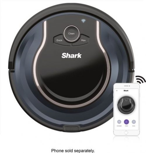 Shark - ION Robot RV761, Wi-Fi Connected, Robot Vacuum with Multi-Surface Cleaning - Black/Navy Blue