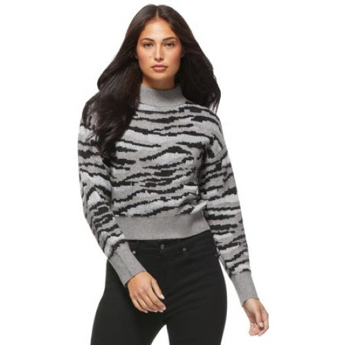 Sofia Jeans by Sofia Vergara Women's Tiger Stripe Mock Neck Sweater
