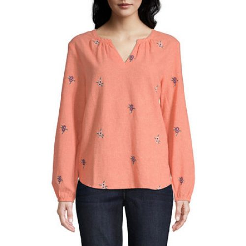 St. John's Bay Womens Split Crew Neck Long Sleeve Blouse, X-large , Orange
