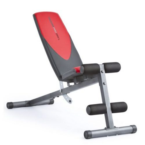 Weider Pro 225 L Adjustable Exercise Bench with Integrated Leg Lockdown and Exercise Chart